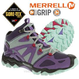 【美國 MERRELL】女新款 Grossbow Sport Mid Gore-Tex專業防水透氣中筒登山健行鞋.適野外探險.抗菌防臭味,排汗.避震_紫/淺藍 J65152