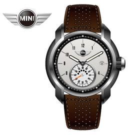 MINI手錶 腕錶 輕量晶白單眼數字時間三點日期窗石英計時棕色皮帶手錶 42mm MINI