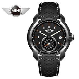 MINI手錶 腕錶 暗夜低語單眼數字時間三點日期窗石英計時黑色皮帶手錶 42mm MINI