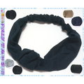 ~POLLY媽~  立體金字塔形棉麻棉布針織棉髮帶^~黑色、深藍色、駝色、灰色三種 共7款