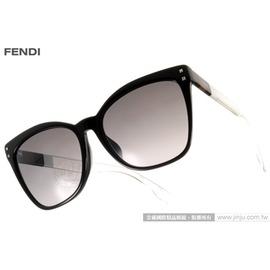FENDI 太阳眼镜 FS0098FS E6JEU (黑) 简约俐落时髦猫眼款 墨镜 # 金橘眼镜