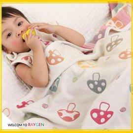 蘑菇草莓純棉紗布新生兒寶寶被 蓋毯 浴巾【HH婦幼館】