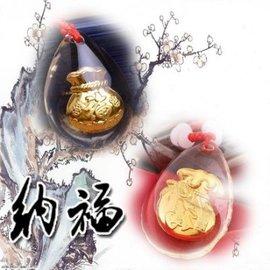 項鍊 彌月禮 黃金水晶鑲金箔S999千足金福字/吊墜/項鏈 【HH婦幼館】