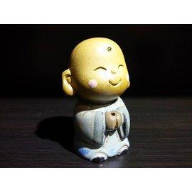 【啟秀齋香品軒】小沙彌造型香座 香插 高約6.5公分 家居飾品擺件 茶寵 鶯歌陶瓷藝品