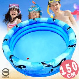 150CM小鯨魚充氣游泳池(排水孔)P008-150(150公分兒童戲水池充氣泳池球屋球池遊戲池推薦)