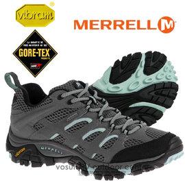 【美國 MERRELL】女新款 Moab GORE-TEX XCR 專業防水透氣低筒登山健行鞋_輕量級/自行車.野外探險.Vibram大底_灰/水藍 ML32674