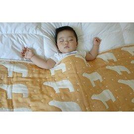 Yimono六層紗呼吸被 ^(南瓜色北極熊^) ~ M ^(140cmx100cm^) ~