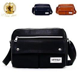 側背包 日系 皮質鐵牌雙口袋斜背包porter風 NEW STAR BL125