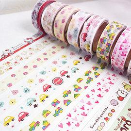 可愛卡通 DIY花邊膠帶/貼紙彩色和紙膠帶 **6捲**