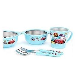 韓國 兒童餐具 閃電麥坤 Cars 不鏽鋼 2個餐碗 水杯 湯匙 叉子