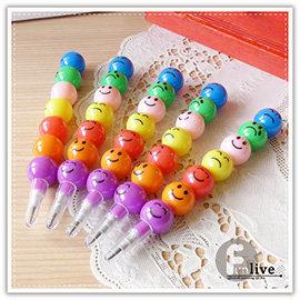 【Q禮品】B2593 表情圓球鉛筆/圓球笑臉鉛筆/糖葫蘆鉛筆/多段式鉛筆/造型鉛筆/免削鉛筆/文具用品