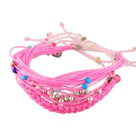 Pura Vida Style Packs多層次 多組 編織 小銀珠 多彩珠手鍊~粉色