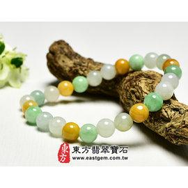 三彩A貨翡翠珠串手環 ^(黃翡、油青、白翡,珠徑約7mm^) O3C011~產地 翡翠,