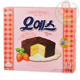 ~韓購網~韓國海太黑森林蛋糕324g^(草莓口味^)12入~巧克力草莓夾心蛋糕