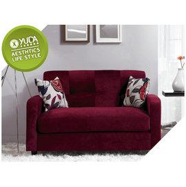 沙發~YUDA~都克 絨布 酒紅色 實木骨架 獨立筒 雙人 沙發椅 沙發 附抱枕2個J6M