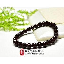 (已售出勿 ,可訂做)石榴石天然玉石珠串手環 ^(暗紅色,珠徑約6mm^)ORP001~產