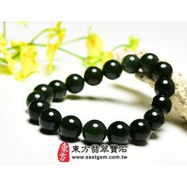 (已售出勿 ,可訂做)油青種翡翠珠串手環 ^(油青、深綠色,珠徑約10mm^) OOG01