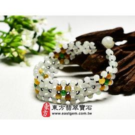 (已售出勿 ,可訂做)彩翡5排珠串手環 ^(油青、白斐、黃翡^) OC5001~產地 翡翠