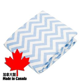 加拿大 Kushies 棉絨嬰兒床床包~淺藍小山紋 70x140cm 新品已拆開