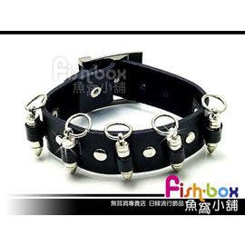 fish~box魚窩小舖◆輕龐克風 ◆皮帶扣式皮手環~Man活動裝飾子彈~單條~^#680
