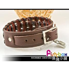 fish~box魚窩小舖◆氣質款 ◆扣式皮革手環~編織鎖頭~單條~^#6803007