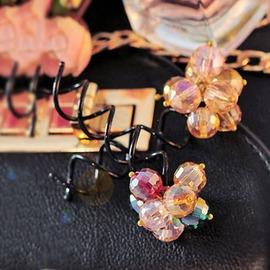 ~ 愛著衣飾 ~髮飾 韓國彩色珠珠花束螺旋髮夾髮飾