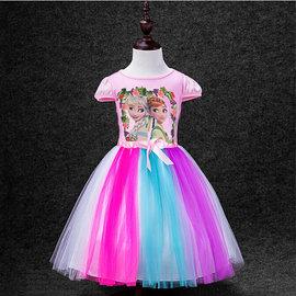 冰雪奇緣2生日驚喜FROZEN艾莎Elsa安娜anna公主女孩 漸變彩虹連衣裙蓬蓬裙公主印