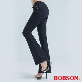 ~BOBSON~女款釘珠伸縮中喇叭褲 黑9021~87