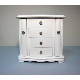 珠寶盒 精緻典雅圓弧形  多色多格5層實木抽屜化�蛗c 珠寶盒櫃 項鍊首飾收藏吊掛櫃 飾品