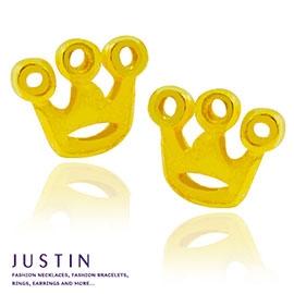 Justin金緻品 黃金耳環 可愛皇冠 寵愛公主 金飾 9999純耳環 情人節 送禮