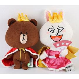Line表情國王布朗熊王后可妮兔情侶公仔毛絨娃娃玩偶玩具 卡通可愛布朗熊國王披風娃娃絨毛玩