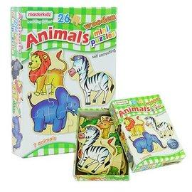 木製迷你拼圖盒裝~動物^(Masterkidz 好童年代理^)~部分與整體、圖形與空間關係