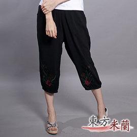 ~東方米蘭~ 中國風•黑色繡花六分燈籠褲