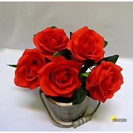 ^~橘子空間裝置藝術^~ 紅色^~ 5頭 相思玫瑰花束 ~人造花.插花 .居家.店面.櫥窗
