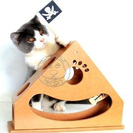外銷 鐘擺式木質海盜船貓玩具30cm