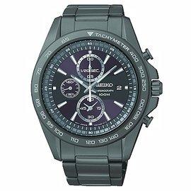 SEIKO Criteria競速運動風格三眼計時腕錶/黑面黑鋼/42mm/7T92-0RK0SD
