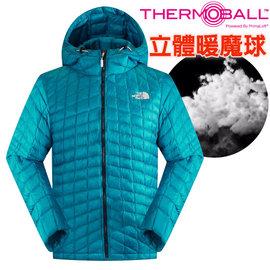 【美國 The North Face】男新款 PrimaLoft ThermoBall 超輕量暖魔球保暖連帽外套(可機洗).兜帽夾克.風衣/媲美羽絨科技/C938 瓷釉藍 DV