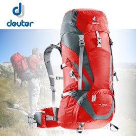 【德國 Deuter】 Act lite 40+10L 輕量拔熱式透氣背包.健行登山背包.自助旅行背包_ 3340115 紅/灰