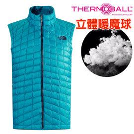 【美國 The North Face】男新款 ThermoBall 極輕量暖魔球防風科技羽絨背心(僅250g_可機洗_PrimaLoft 抗水快乾)登山滑雪/C940 瓷釉藍