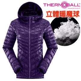 【美國 The North Face】女新款 PrimaLoft ThermoBall 超輕量暖魔球保暖連帽外套(可機洗).兜帽夾克.大衣/媲美羽絨科技/CUD4 石榴紫 V