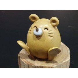 【啟秀齋香品軒】十二生肖 財鼠 香插 香座  高約4.5公分 居家擺飾擺件 茶寵 鶯歌陶瓷藝品