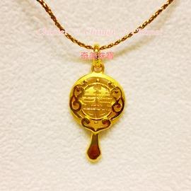 奇美珠寶~黃金墜子~婚慶九寶~圓滿金鏡~喜慶.祝福