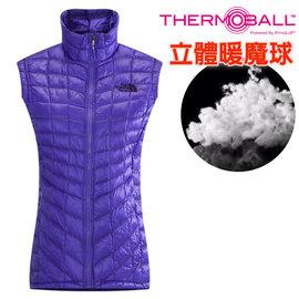 【美國 The North Face】女新款 ThermoBall 極輕量暖魔球防風科技羽絨背心(僅210g_可機洗_PrimaLoft 抗水快乾)登山滑雪/CUD6 星空紫 DV