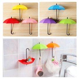 創意雨傘造型強力粘膠掛鉤 多彩收納掛鉤 免釘無痕牆壁粘鉤 3個裝 【HH婦幼館】
