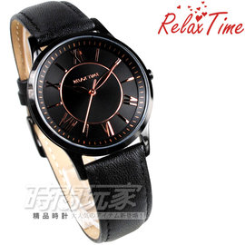 RT~58~9L 貨 RELAX TIME 典藏羅馬時刻 IP黑電鍍 玫瑰金色指針 黑色真