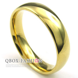 ~ QBOX ~FASHION 飾品~W10022934~精緻 金色素面 316L鈦鋼戒指