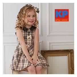 臺灣 專櫃 kp5206 春夏女童洋裝 卡其色格紋外出洋裝 正式款禮服洋裝 100^% 棉