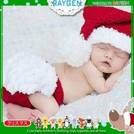 童裝  嬰兒攝影寫真聖誕紅白針織帽二件式 套裝【HH婦幼館】