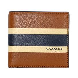 COACH 75137 駝色全皮條紋飾邊四卡零錢袋短夾