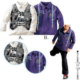 ^~^~阿布 ^~^~~C3964~中大童吊帶背心印花翻領長袖上衣 棉T POLO衫 11